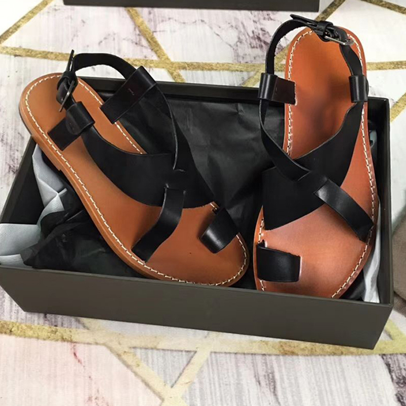 2020 Summer Gladiator Sandals Flat Heel Casual Beach Shoes Ankle Strap Flipflops Real Leather Shoes Women Zapatos Mujer