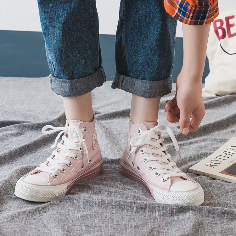2019 New Style Autumn Canvas Shoes Women's Hight-top Student Versatile Shaking Voice Network Red Casual Shoes