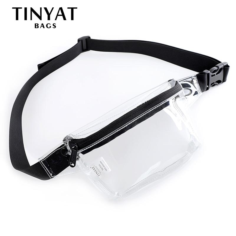 TINYAT Summer Women Waist Bag PVC Clear Waist Bag Waterproof Jelly Belt Bag For Girl Walk Bag Transparent Casual Fanny Pack