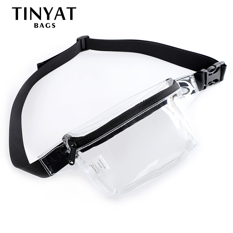 TINYAT Waist Bag Pouch Women Money Phone Belt Bag Pvc Clear Female Fanny Pack Bag Hip Bag Jelly Banana Bag For Girl Transparent