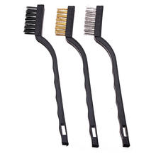 3pc Mini Wire Brush Set Steel Brass Nylon Bristle For Cleaning