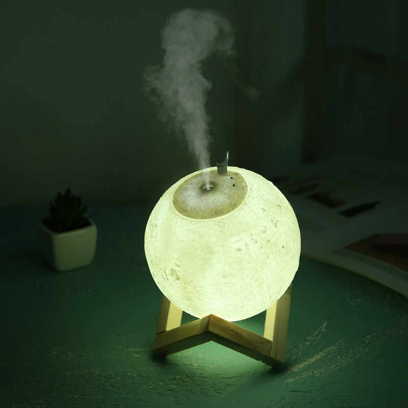 Air Humidifier 3d Moon Led Lamp Light Diffuser Aroma Essential Oil Diffuser Usb Ultrasonic Humidifier Cool Mist Air Purifier Night Lights Aliexpress