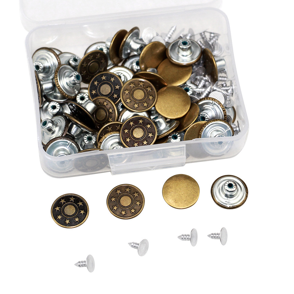 50 наборов 17 мм застежка-молния металла брюки кнопки для одежды джнисовая пуговица металлические гвозди пуговицы запасных частей для пришив...