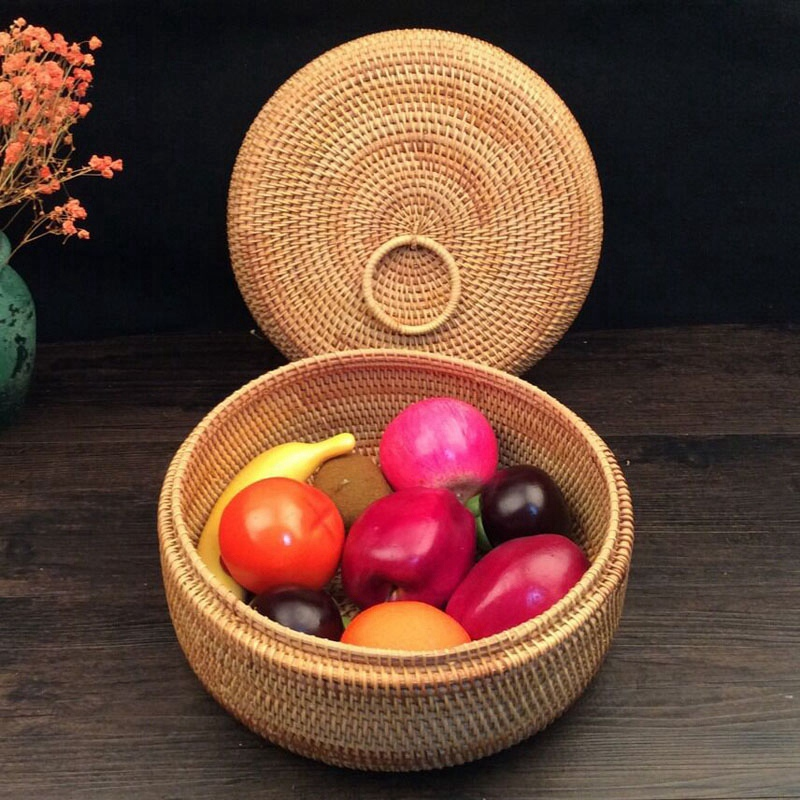 Autumn Rattan Weave Fruit Basket Round Organizers Box Dried Fruit Candy Snacks Dessert Food Storage Container with Lid|Storage Baskets| |  - title=