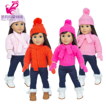 18 inch girl doll clothes 43cm baby sweater pink red toys coat