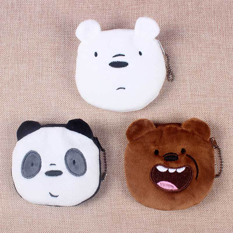 1PCS cartoon plush wallet bear creative coin purse girl card bag headset gift