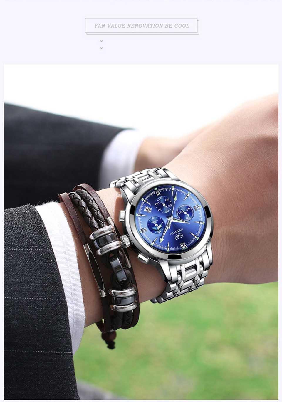 superior luxo relógio de aço inoxidável à