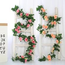 yumai 230cm 17 Heads Rose Faux Flower Vines silk Roses Wreath Wedding Wall Decor Outdoor Fall Garland Decoration