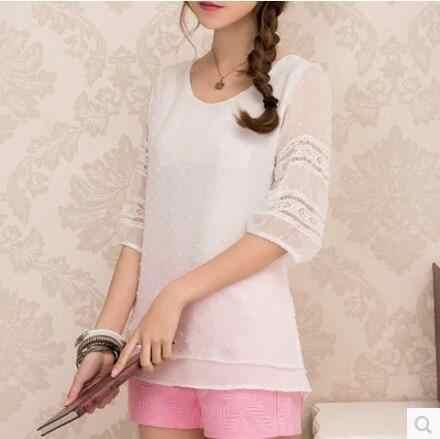 Mulheres blusas de renda meia manga branco chiffon blusas camisas femininas topos sociais blusa chemise femme plus size 4xl roupas femininas