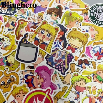 CA944 50pcs/set Sailor moon Anime Graffiti Stickers For Luggage Laptop Notebook Fridge Car Motorcycle Toy Phone Cartoon Stickers anime avatar monster pet thumbnail funny spoof taste fridge magnet colourful squishy waterproof stickers kawaii toy recyclable