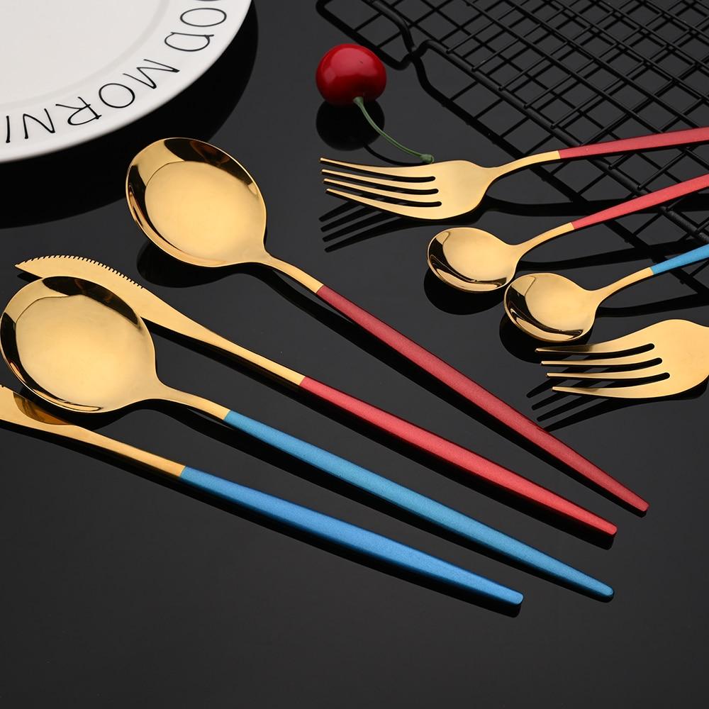 Ensemble de couverts en acier inoxydable, 24 pièces, vert et or, vaisselle miroir, couteau, fourchette, cuillère à café pour la maison 6
