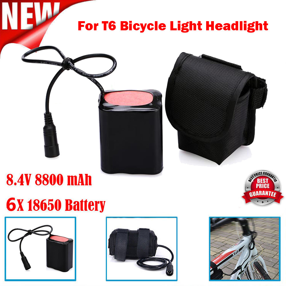 8.4V Rechargeable 8800mAh 6X18650 Battery Pack For T6 Bicycle Light Headlight Bicycle Light Bick Best Sale Bicycle Equipment #e