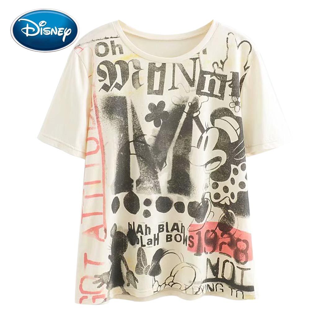 Disney Cute Retro 1928 Minnie Mouse Bow Cartoon Letter Print Women T-Shirt O-Neck Pullover Short Sleeve Casual Loose Tee Tops