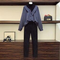 Camiseta de talla grande a rayas para mujer, conjunto de dos piezas, Camiseta de cuello alto de retazos y pantalones ajustados, traje a juego, ropa grande, primavera 2021