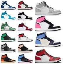 Мужские баскетбольные ботинки Jumpman aj 1 aj1 с коробкой, разбиваемая задняя панель UNC 1s, золотистый топ 3, кактус Джек, обсидиан, запрещенный выпус...