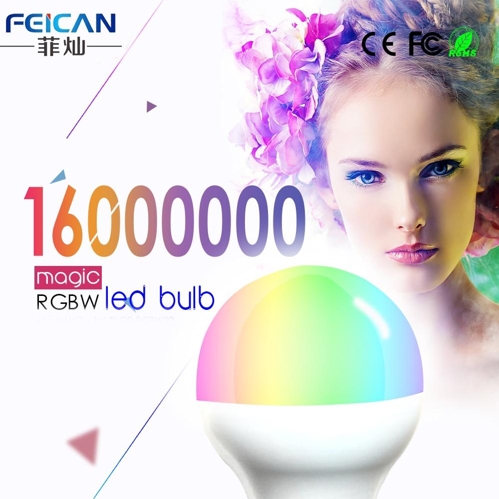E27 FEICAN Conduziu a Lâmpada Lâmpada LED RGBW Wi-fi Inteligente Luz lâmpadas 5W 7W 9W AC85-240V Iluminação Do Bluetooth 4.0 Mudança de Cor Pode Ser Escurecido