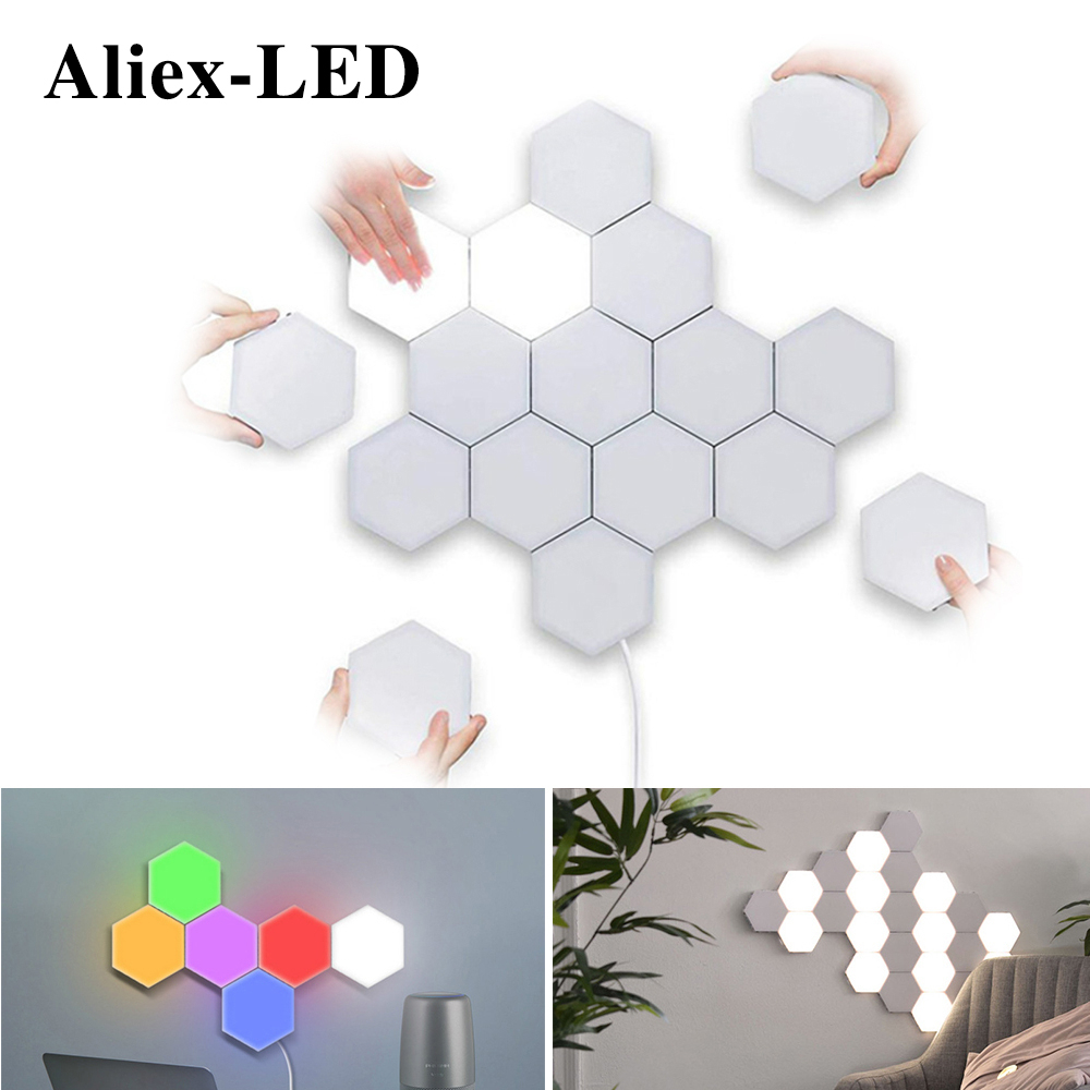 LED DIY Hexagonal Wall Lamp Bedroom Decor Night Light Touch Sensor Magnetic Quantum Lamps for Home Decoration Honeycomb Lights