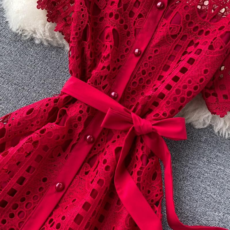 Elegant Hollow Out Balck Red White Short Sleeve Beach Dress 15
