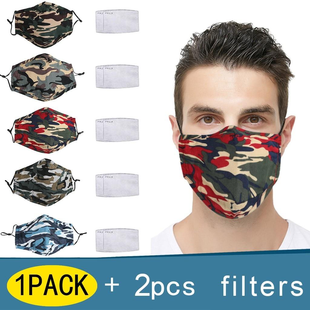 Маска для лица многоразовая камуфляжная с фильтром PM2.5 и защитой от ветра
