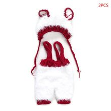 Комплект из 2 предметов для новорожденных; вязаные крючком реквизиты для фотосъемки; рождественские наряды для фотосъемки; DXAD