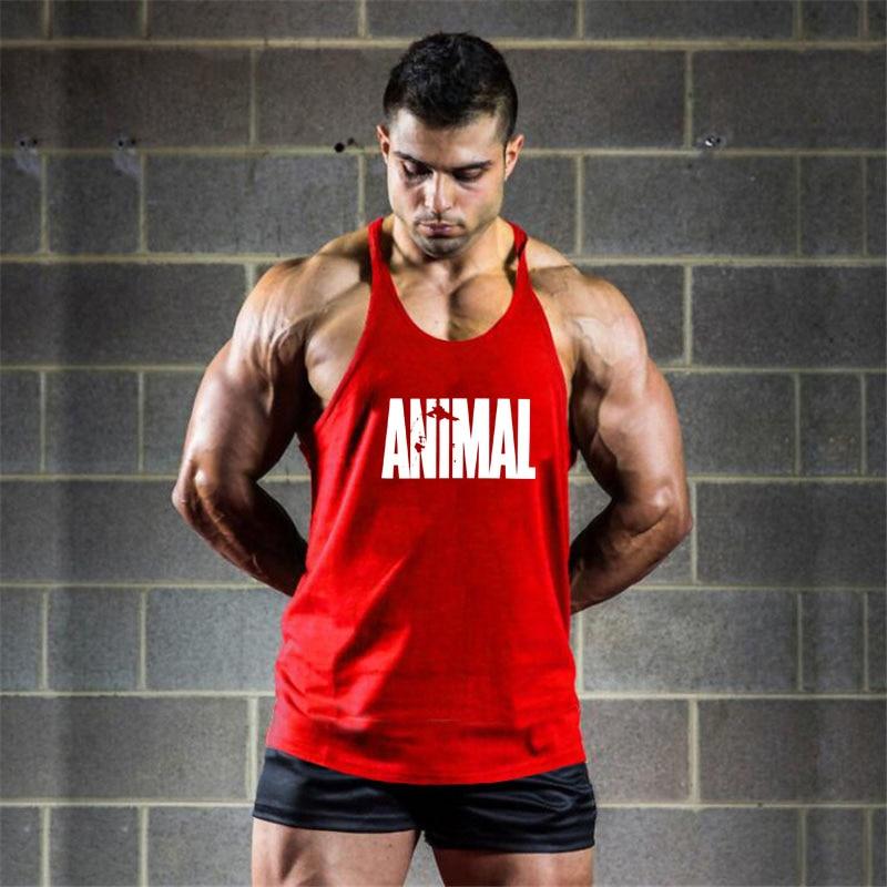 running - Brand Gym Clothing Animal Muscle Singlet Canotte Bodybuilding Stringer Top Men Fitness Shirt Muscle Guys Sleeveless Vest Tanktop