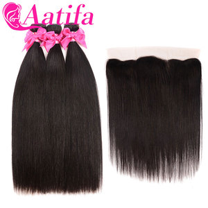 Image 2 - Transparent Lace Frontal With Bundles Brazilian Straight Hair Bundles With Frontal Aatifa 100% Human Virgin Hair With Closure