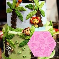 1PC Sugar forest animal silicone mold elephant lion monkey animal chocolate drop mold sugar cake fondant molds B021