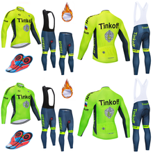 2018 Tinkoff Winter Thermal Fleece Cycling Clothing Set Maillot Ropa Ciclismo Invierno MTB Bicycle Jerseys Bike Sportswear(China)