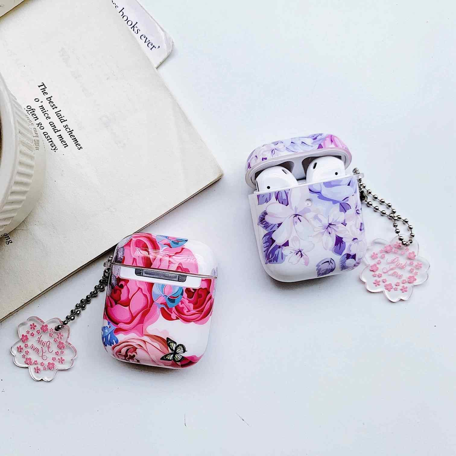 Pour AirPods étui de luxe peinture à l'huile fleur avec porte-clés accessoires couverture rigide pour Air pods 2 boîtier Bluetooth étui pour écouteurs capa