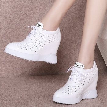 2020 Casual Shoes Women Genuine Leather Wedges High Heel Vulcanized Shoes Female Lace Up Breathable Pumps Shoes Fashion Sneakers