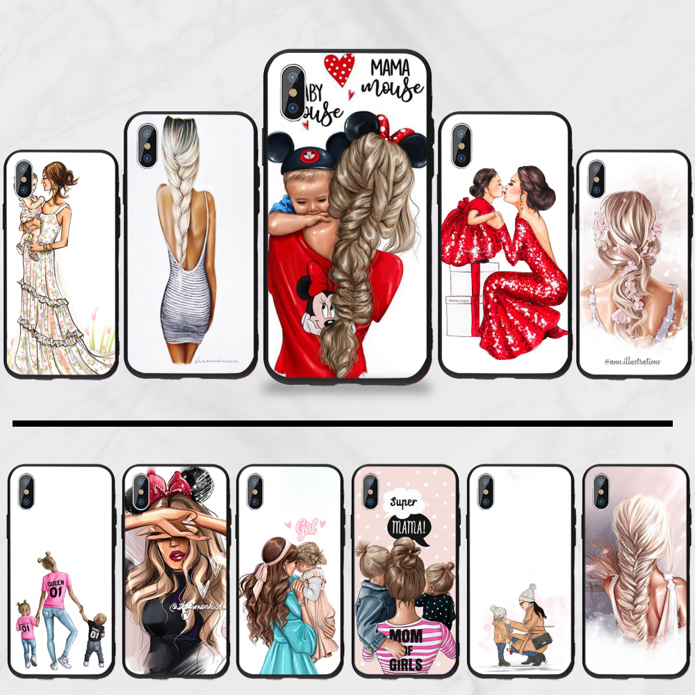 Baby mom Girl and Boy <font><b>Original</b></font> Pattern DIY Luxury Phone <font><b>Case</b></font> For <font><b>iphone</b></font> 5 5s <font><b>5c</b></font> se 6 6s 7 8 plus x xs xr 11 pro max image