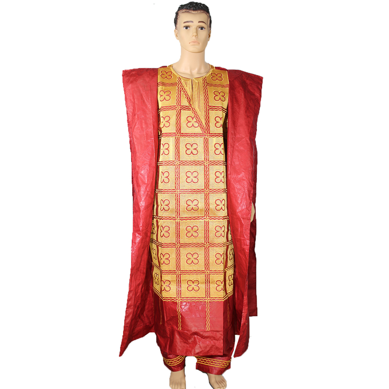 MD Plus Size African Men Agbada Clothes Big Boubou Long Cover With Pants Suit Traditional South Africa Gold Embroidered Pattern