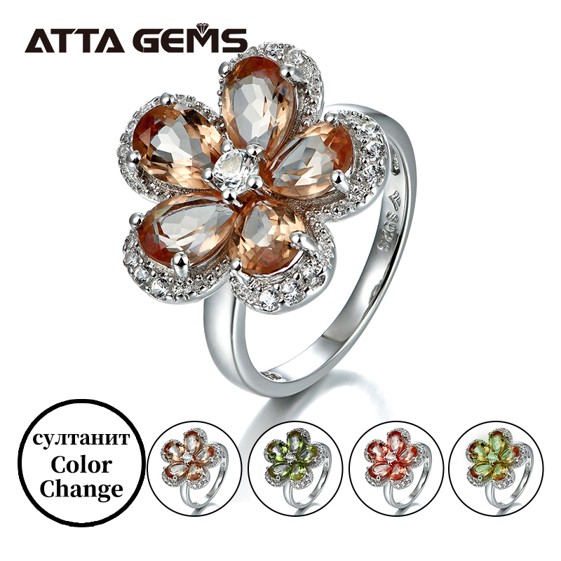 Diaspore султанит Sterling Silver Rings For Women Flower Design Romantic Style 5.6 Carats Created Diaspore Color Change Stone