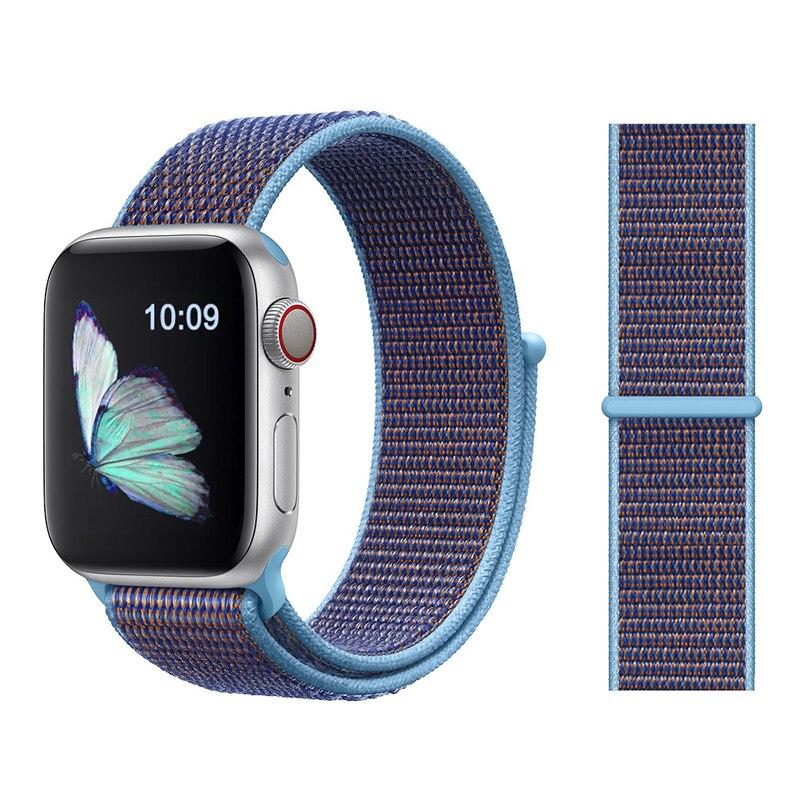 Для наручных часов Apple Watch, версии 3/2/1 38 мм 42 мм нейлон мягкий дышащий нейлон для наручных часов iWatch, сменный ремешок спортивный бесшовный series4/5 40 мм 44 мм - Цвет ремешка: Color33 Cerulean