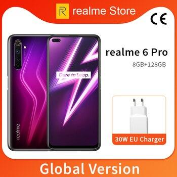Купить Глобальная версия realme 6 Pro, 8 ГБ, 128 ГБ, 6,6 дюйма, 90 Гц, полноэкранный процессор Snapdragon 720G, Восьмиядерный процессор, 64 мп, AI Quad Camera, аккумулятор 4300 м...