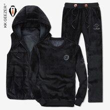 Winter Men Hoodies Sweatshirts Suit Vests Warm Thick Pleuche Fabric Black Leisure Coat Sweatpants   (Sweatshirt+Pants+Vest)
