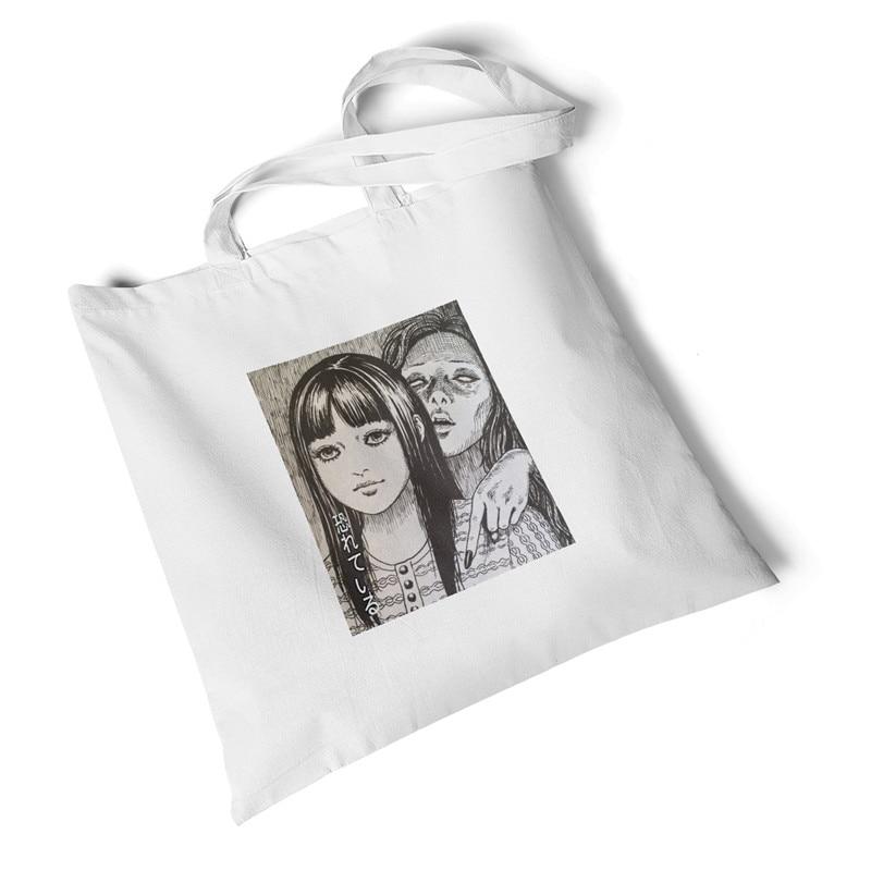 Focal20 Streetwear Dark Anime Girl Print Women Canvas Bag Large Foldable Tote Shopping Bag Storage Reusable Handbag Shoulder Bag