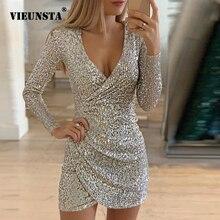 VIEUNSTA, сексуальные Серебристые блестящие платья для женщин,, глубокий v-образный вырез, с блестками, мини облегающее платье, Осень-зима, длинный рукав, платье для вечеринки