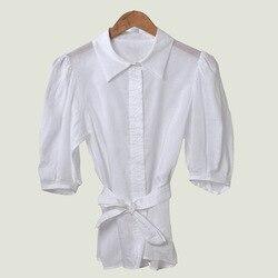 Blusa asimétrica con fajas camisa blanca de manga corta Simple Primavera Verano