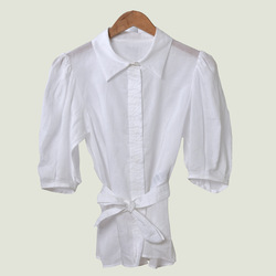 Women Asymmetric Blouse With Sashes Short Sleeve White Shirt Simple Spring Summer Tops