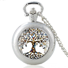 High Quality  Women Tree of Life Glass Dome Silver Quartz Pocket Watch Charm Lady Girl Necklace Pendant Gifts