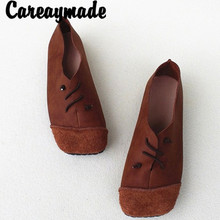 Careaymade-Retro Ethnic Style Soft Flat-soled Womens Shoes Square Head Full Skin Cattle Leather Hand-made Slim Single