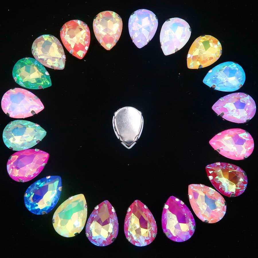 シルバー爪設定 7 × 10 10 × 14 13 × 18 ミリメートルゼリーキャンディ & AB 色ガラスクリスタル水滴ラインストーンウェディングドレス diy トリム
