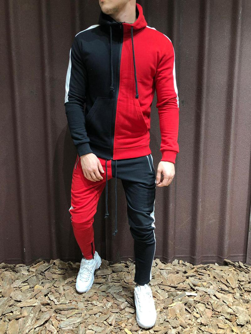 HOT Zipper Tracksuit Men Set Sporting 2 Pieces Sweatsuit Men Clothes Printed Hooded Hoodies Jacket Pants Track Suits Male