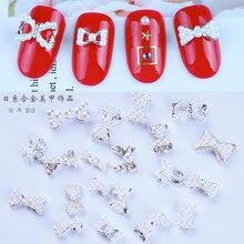 100 шт/лот дизайн ногтей 10 шт Стразы 3d галстук бабочка для