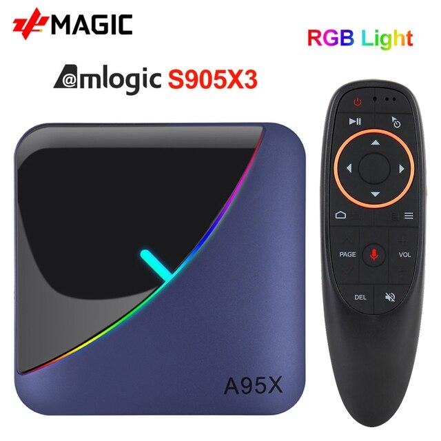 A95X F3 אנדרואיד 9.0 טלוויזיה תיבת RGB אור טלוויזיה תיבת 4GB 64GB 32GB Amlogic S905X3 תיבת 2.4/5G wifi 8K Plex Media שרת חכם תיבה