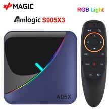 Caixa clara da tevê do rgb da caixa 4gb 64gb 32gb amlogic s905x3 do andróide 9.0 da tevê de a95x f3 caixa 2.4/5g wifi 8k