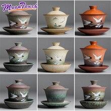 Enamel Gaiwan Handpainted Ceramic Tea Tureen Kung Fu Set Chinaware zisha cup Chinese Service
