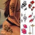 Водонепроницаемая Временная тату-наклейка цветок Пион Роза эскизы флэш-татуировки черный хна для Боди Арта рука поддельные татуировки для ...