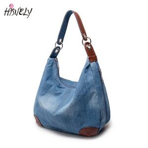 Image 1 - אופנה נשים סיבתי שקיות גבירותיי ינס תיק גדול כתף שקיות כחול ג ינס Tote Mujer Bolsa חמוד מעצב נשי גדול בציר